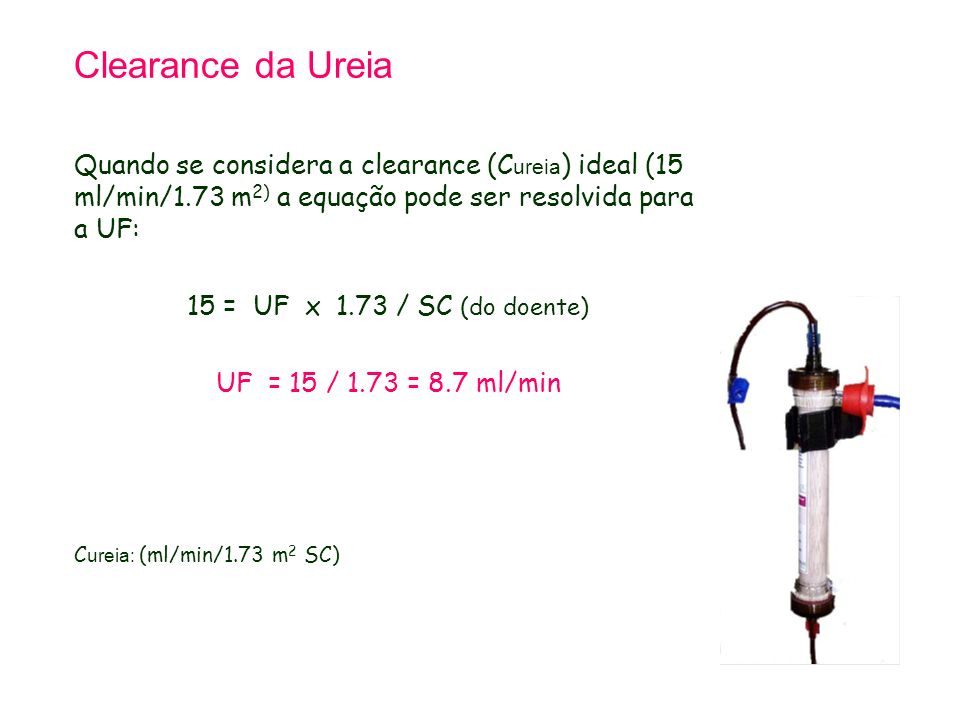 Tetralogy of Fallot 21.9.98. Clearance da Ureia.