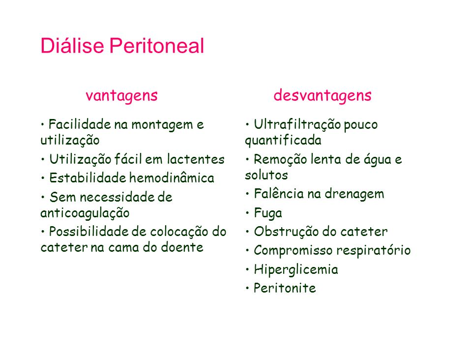 Diálise Peritoneal vantagens desvantagens