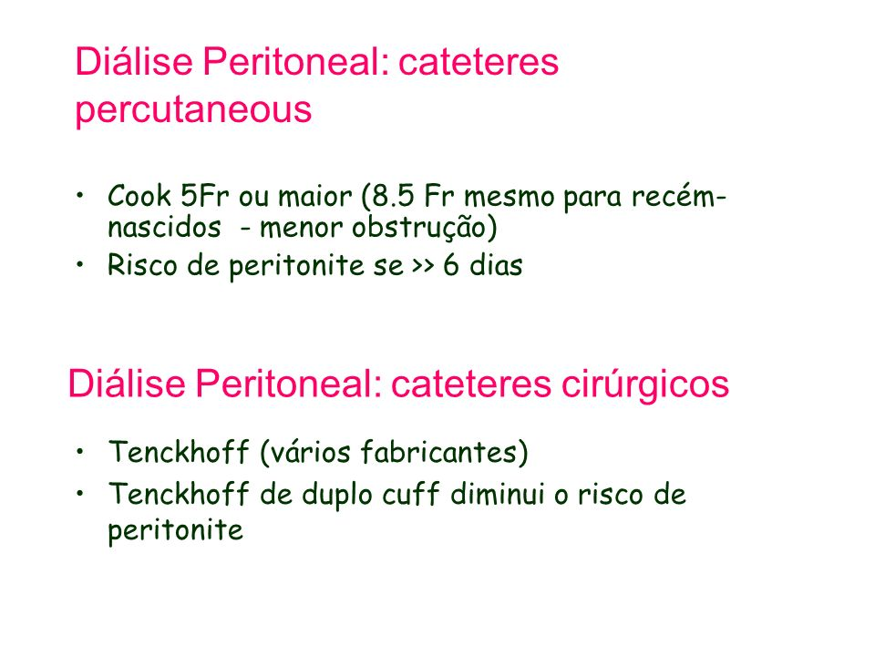Diálise Peritoneal: cateteres percutaneous