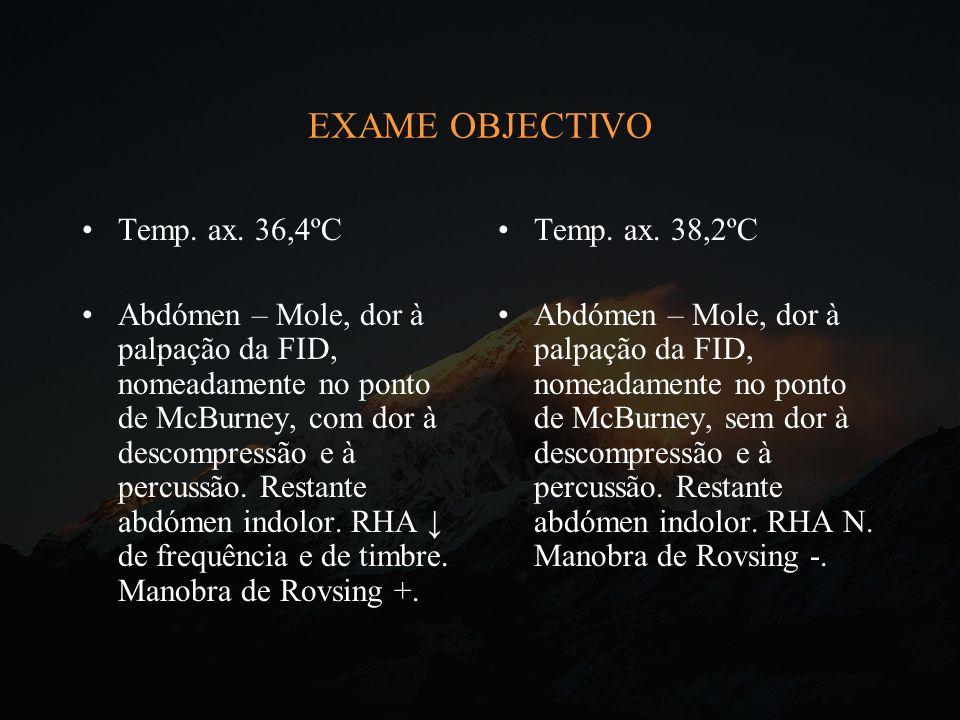 EXAME OBJECTIVO Temp. ax. 36,4ºC
