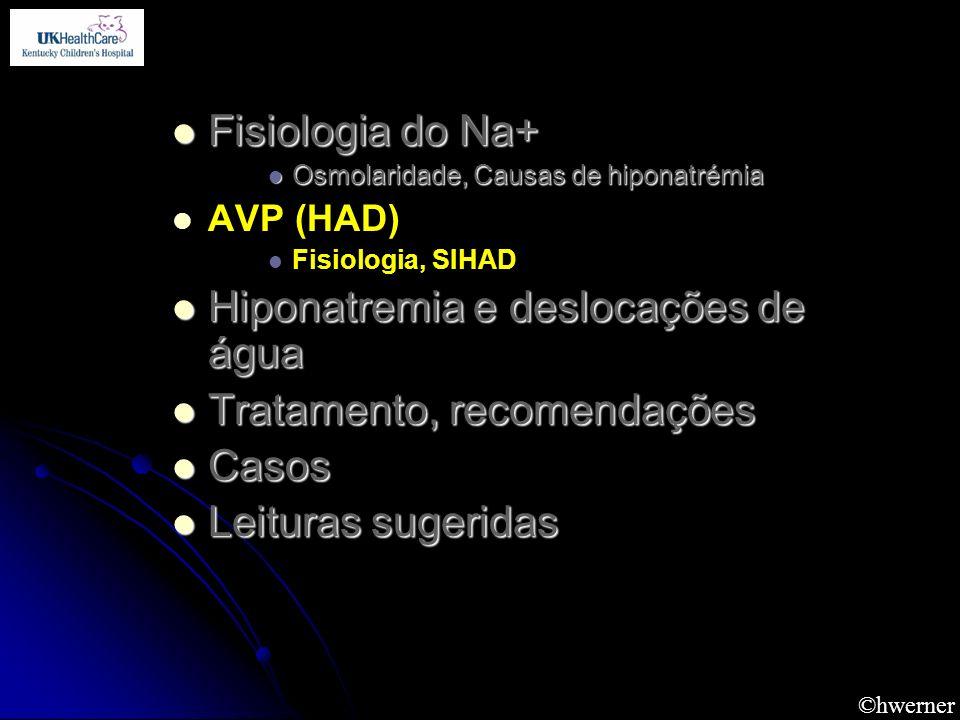 Hiponatremia e deslocações de água Tratamento, recomendações Casos