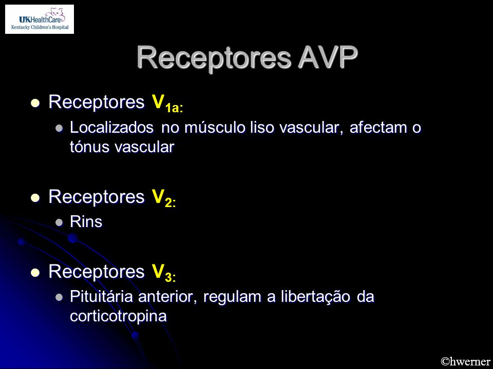 Receptores AVP Receptores V1a: Receptores V2: Receptores V3: