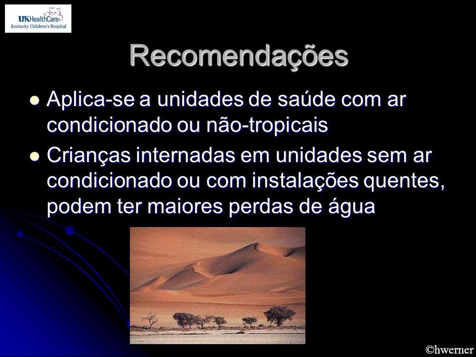 Recomendações Aplica-se a unidades de saúde com ar condicionado ou não-tropicais.