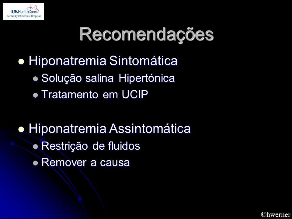 Recomendações Hiponatremia Sintomática Hiponatremia Assintomática