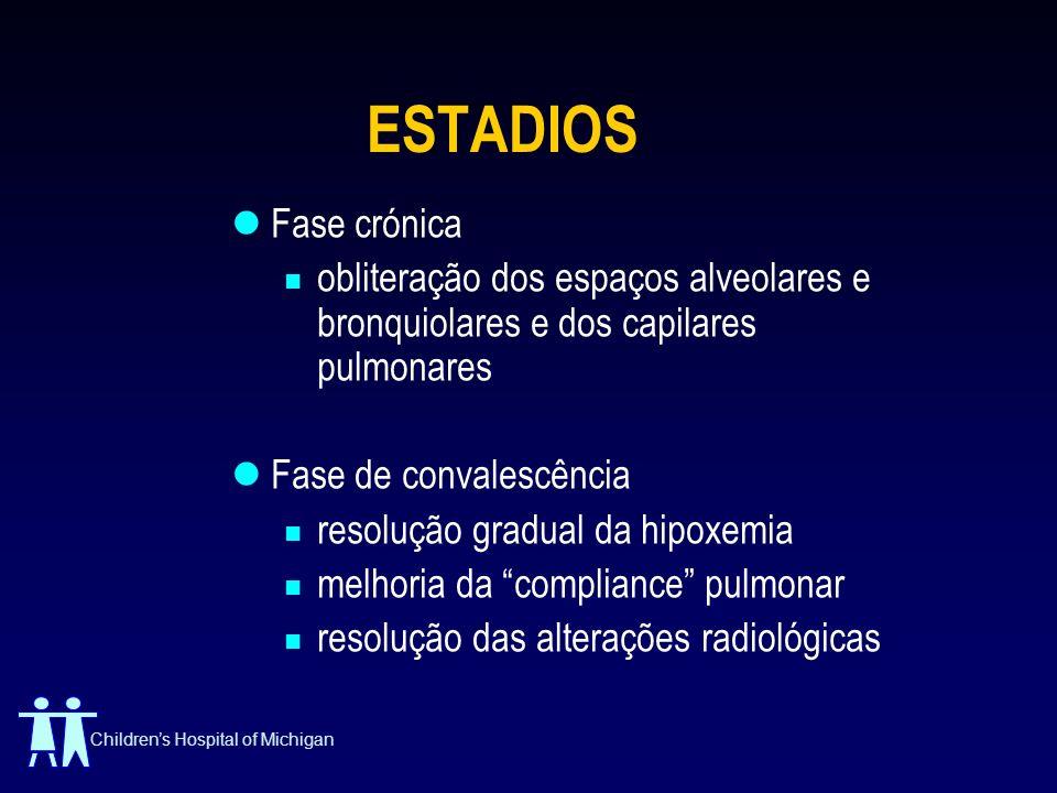 ESTADIOS Fase crónica. obliteração dos espaços alveolares e bronquiolares e dos capilares pulmonares.