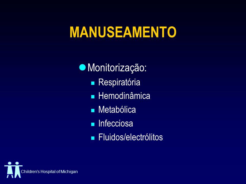 MANUSEAMENTO Monitorização: Respiratória Hemodinâmica Metabólica