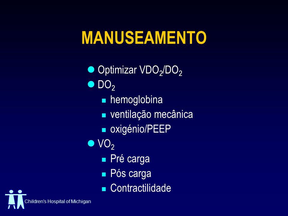 MANUSEAMENTO Optimizar VDO2/DO2 DO2 hemoglobina ventilação mecânica
