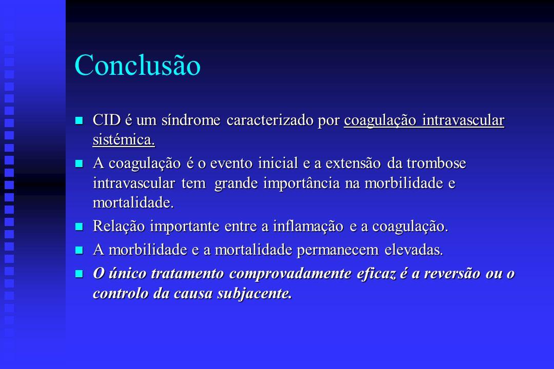 Conclusão CID é um síndrome caracterizado por coagulação intravascular sistémica.