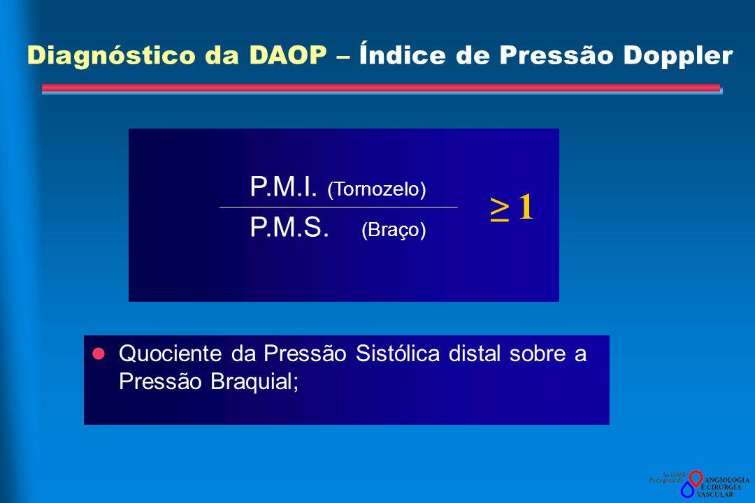 ≥ 1 Diagnóstico da DAOP – Índice de Pressão Doppler