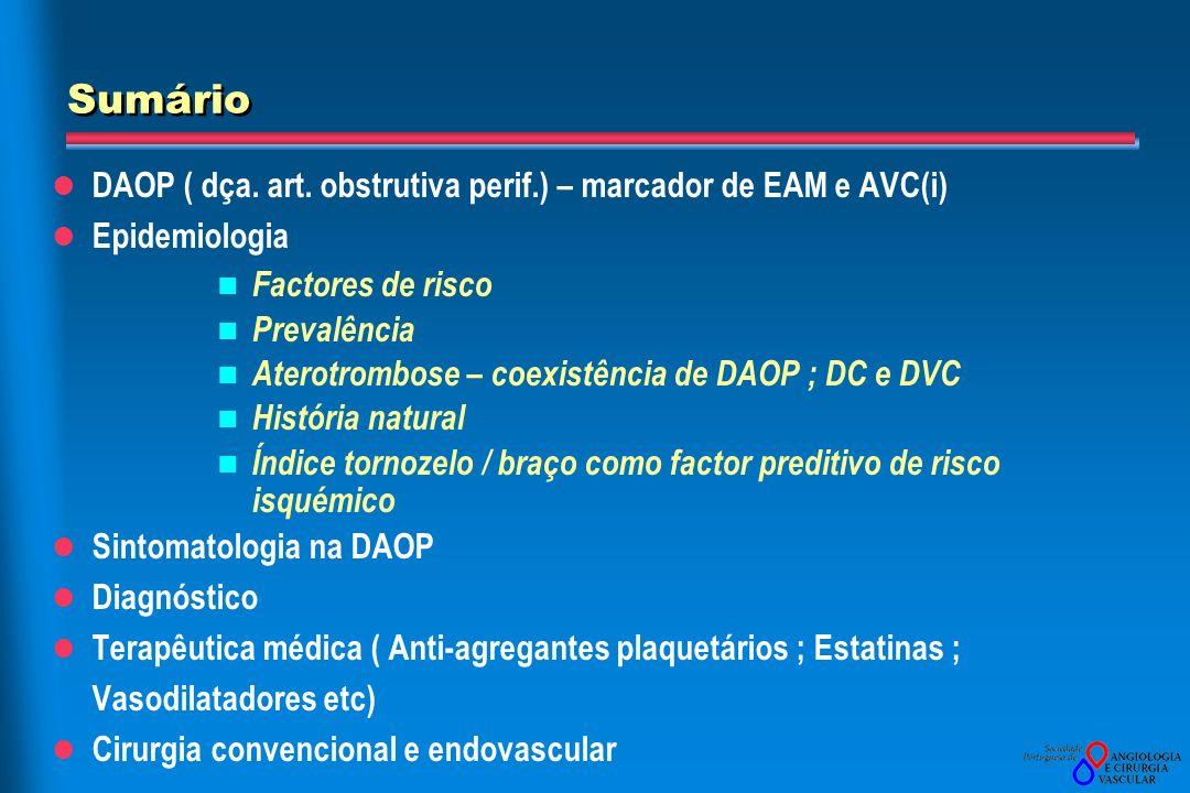 Sumário DAOP ( dça. art. obstrutiva perif.) – marcador de EAM e AVC(i)