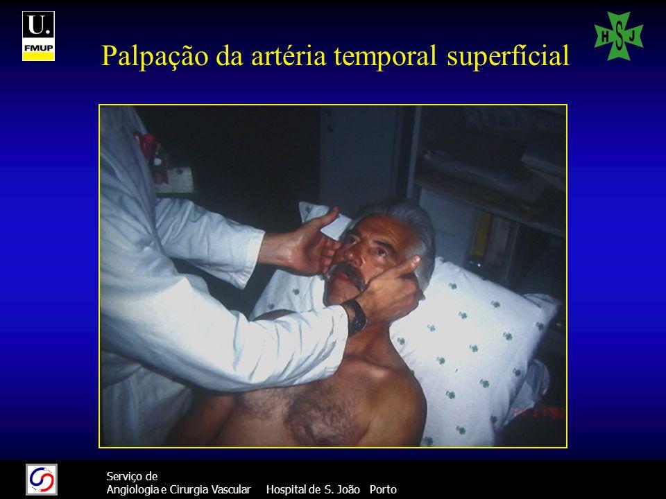Palpação da artéria temporal superfícial