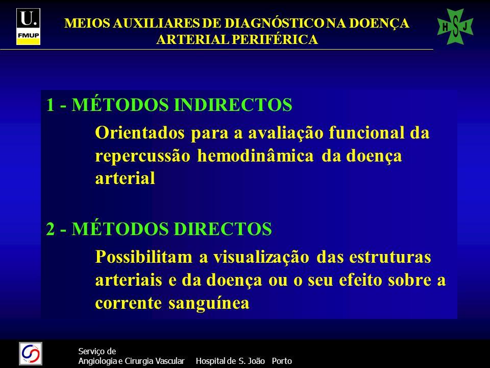 MEIOS AUXILIARES DE DIAGNÓSTICO NA DOENÇA ARTERIAL PERIFÉRICA