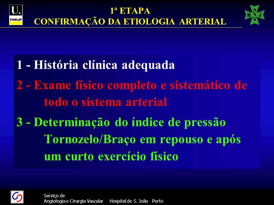 1ª ETAPA CONFIRMAÇÃO DA ETIOLOGIA ARTERIAL