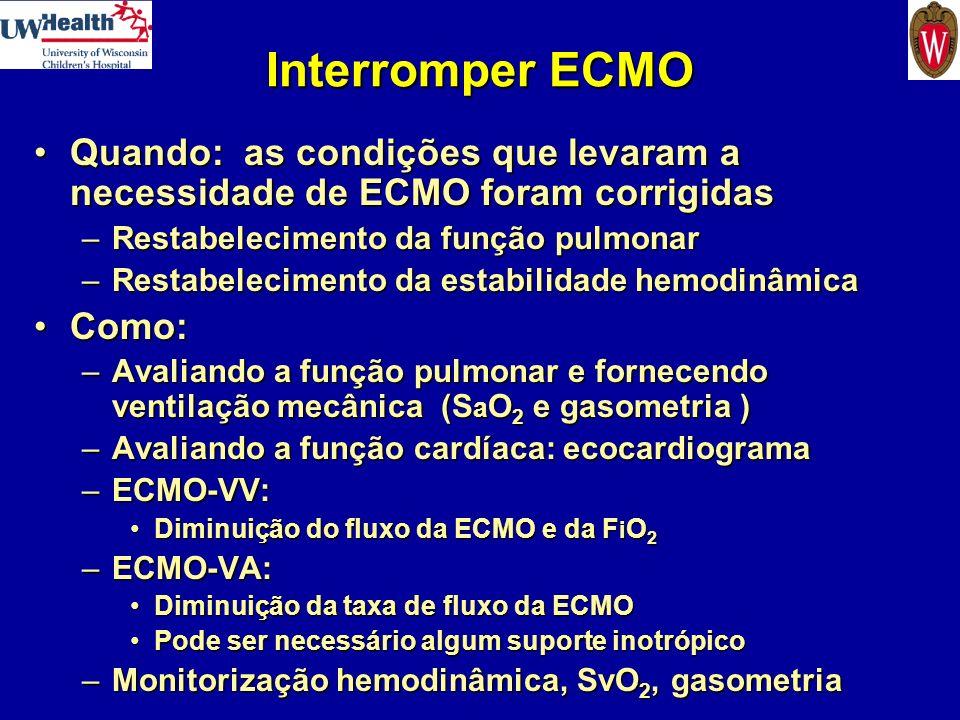 Interromper ECMO Quando: as condições que levaram a necessidade de ECMO foram corrigidas. Restabelecimento da função pulmonar.