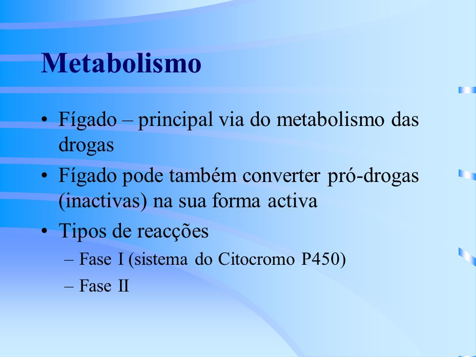 Metabolismo Fígado – principal via do metabolismo das drogas
