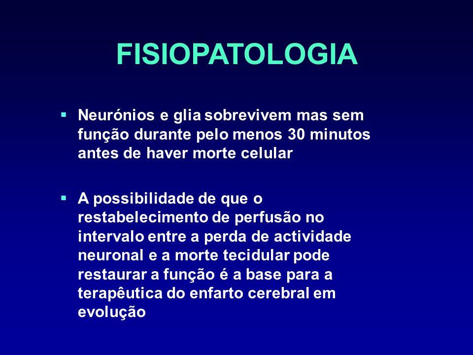 FISIOPATOLOGIA Neurónios e glia sobrevivem mas sem função durante pelo menos 30 minutos antes de haver morte celular.