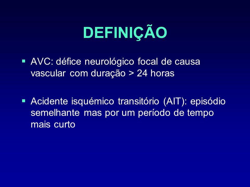 DEFINIÇÃO AVC: défice neurológico focal de causa vascular com duração > 24 horas.