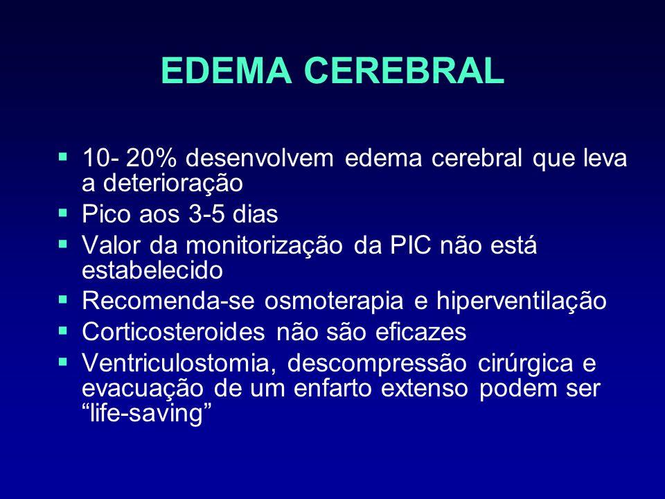 EDEMA CEREBRAL 10- 20% desenvolvem edema cerebral que leva a deterioração. Pico aos 3-5 dias. Valor da monitorização da PIC não está estabelecido.
