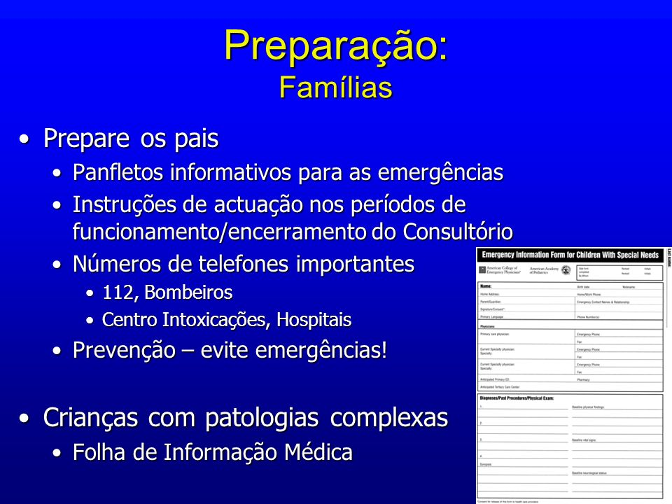 Preparação: Famílias Prepare os pais Crianças com patologias complexas