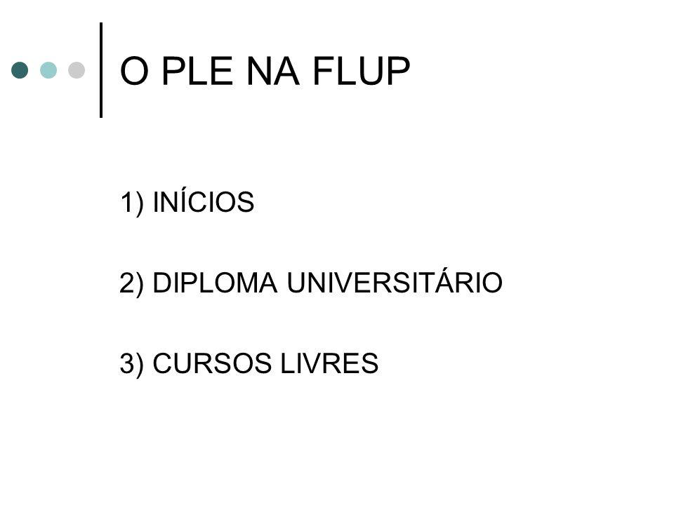 O PLE NA FLUP 1) INÍCIOS 2) DIPLOMA UNIVERSITÁRIO 3) CURSOS LIVRES