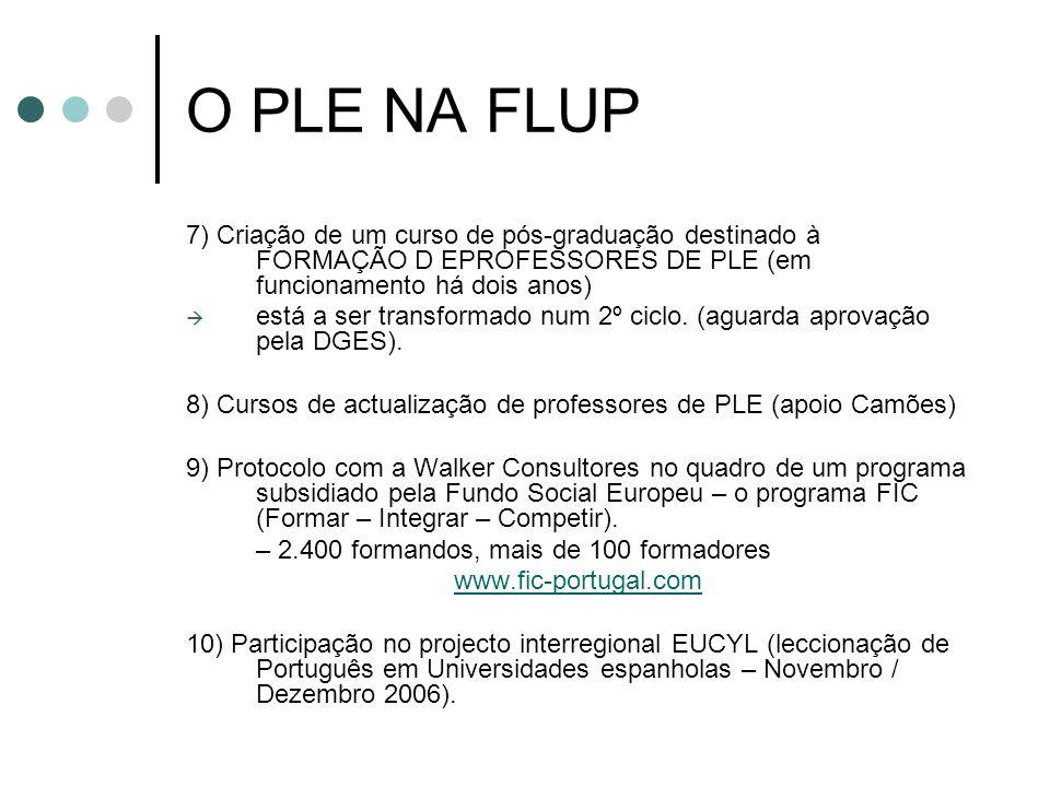 O PLE NA FLUP7) Criação de um curso de pós-graduação destinado à FORMAÇÃO D EPROFESSORES DE PLE (em funcionamento há dois anos)