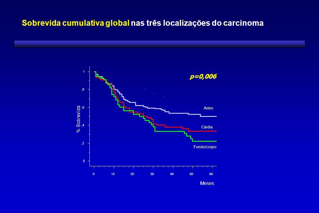 Sobrevida cumulativa global nas três localizações do carcinoma