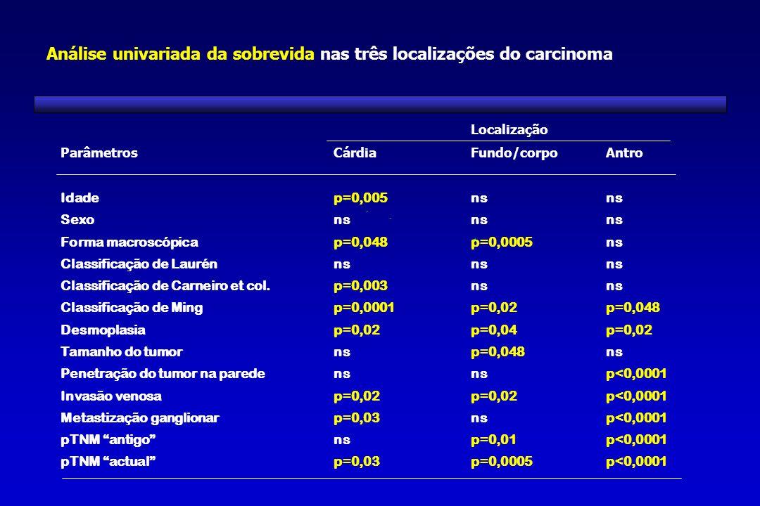 Análise univariada da sobrevida nas três localizações do carcinoma