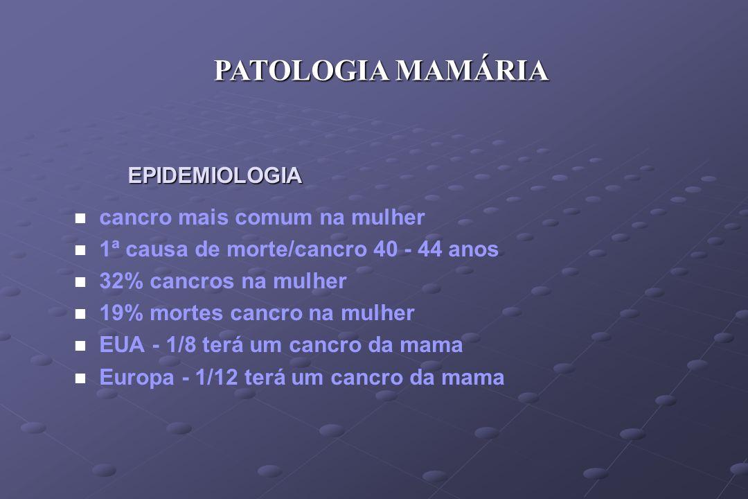 PATOLOGIA MAMÁRIA EPIDEMIOLOGIA cancro mais comum na mulher