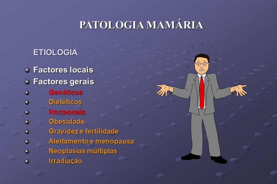PATOLOGIA MAMÁRIA ETIOLOGIA Factores locais Factores gerais Genéticos