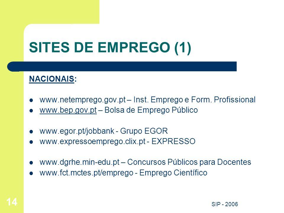 SITES DE EMPREGO (1) NACIONAIS: