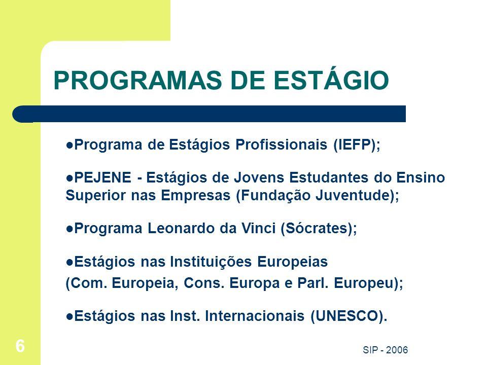 PROGRAMAS DE ESTÁGIO Programa de Estágios Profissionais (IEFP);