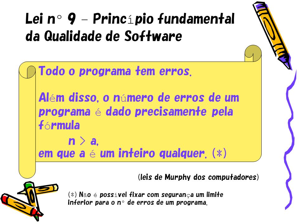 Lei nº 9 – Princípio fundamental da Qualidade de Software