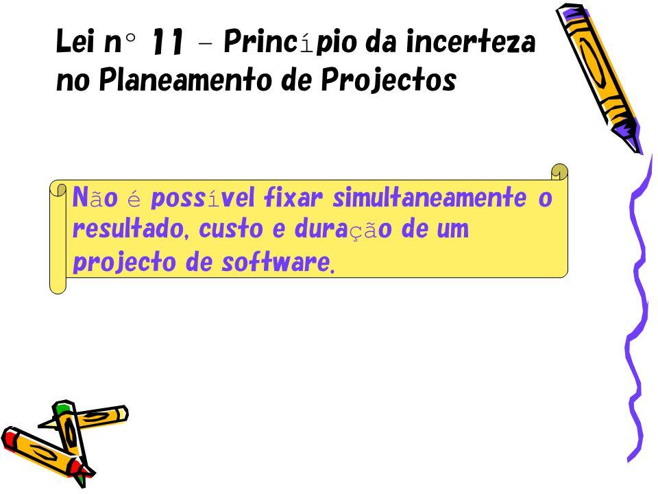 Lei nº 11 – Princípio da incerteza no Planeamento de Projectos
