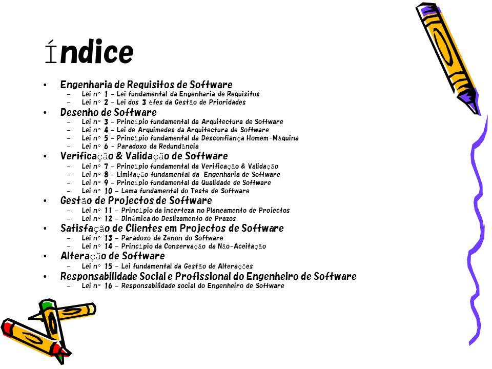 Índice Engenharia de Requisitos de Software Desenho de Software