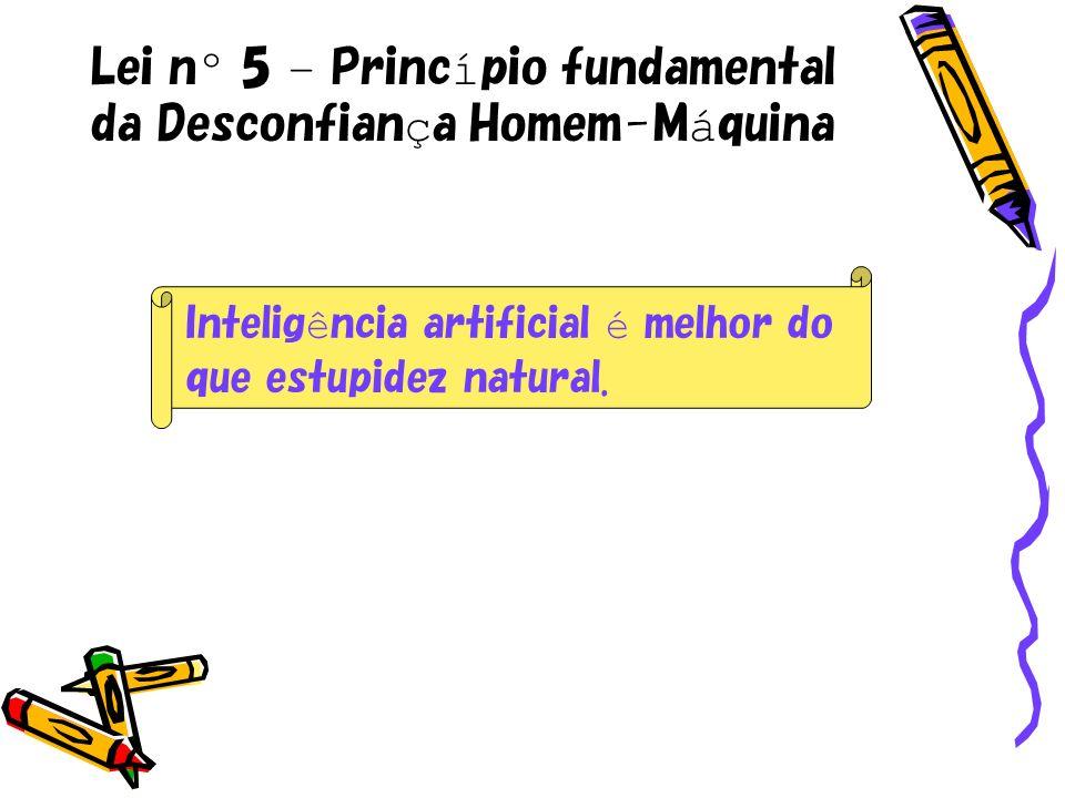 Lei nº 5 – Princípio fundamental da Desconfiança Homem-Máquina