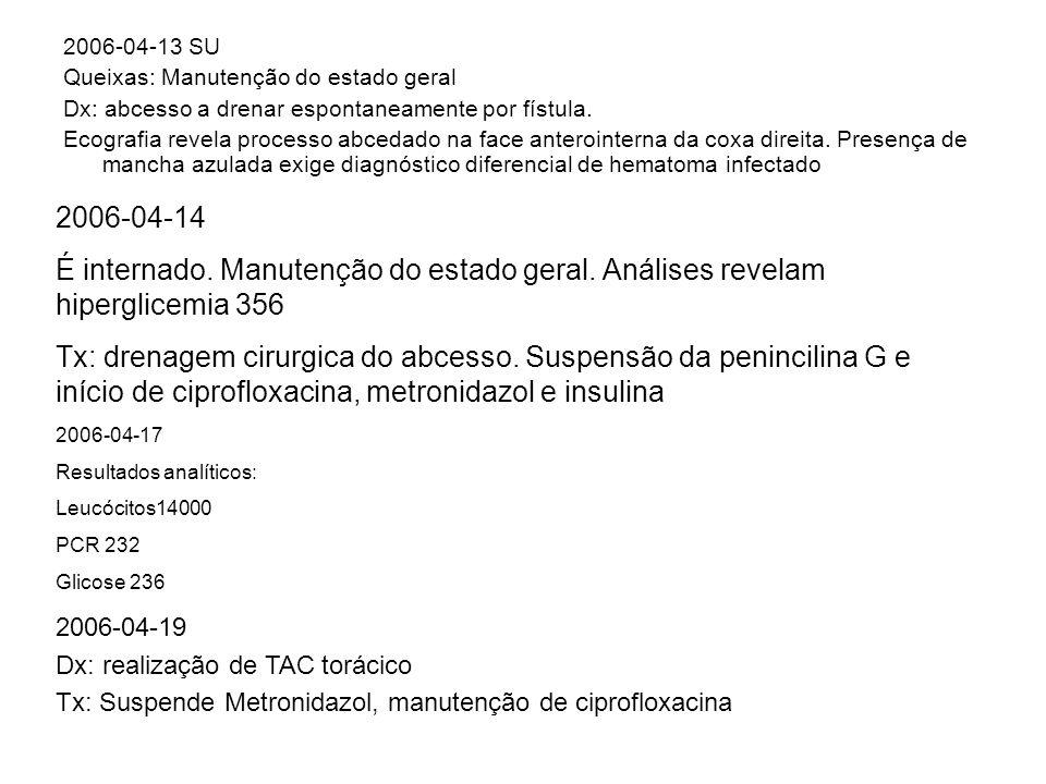 2006-04-13 SU Queixas: Manutenção do estado geral. Dx: abcesso a drenar espontaneamente por fístula.