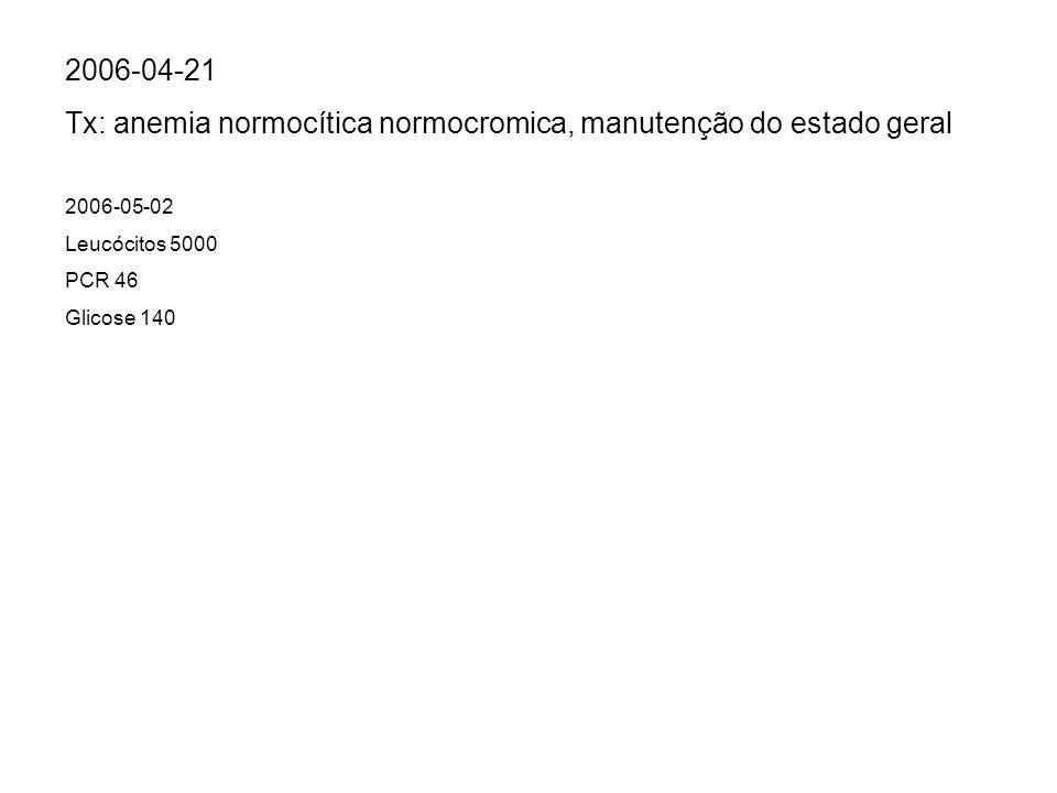Tx: anemia normocítica normocromica, manutenção do estado geral