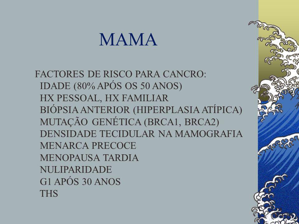 MAMA FACTORES DE RISCO PARA CANCRO: IDADE (80% APÓS OS 50 ANOS)