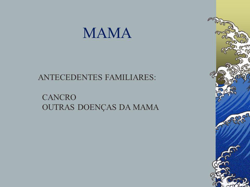 MAMA ANTECEDENTES FAMILIARES: CANCRO OUTRAS DOENÇAS DA MAMA