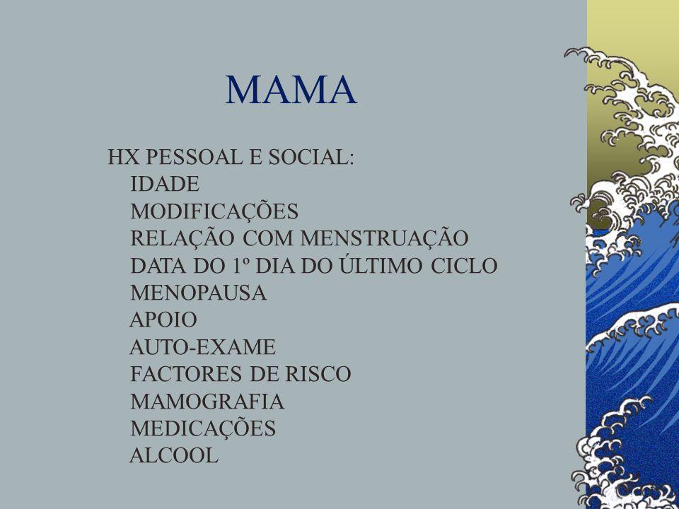 MAMA HX PESSOAL E SOCIAL: IDADE MODIFICAÇÕES RELAÇÃO COM MENSTRUAÇÃO