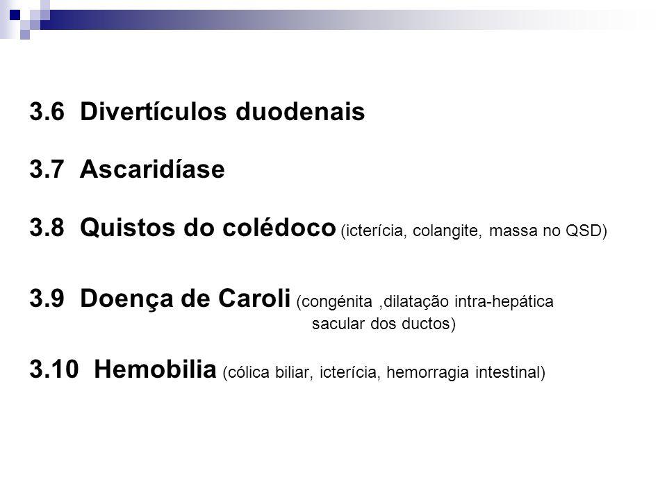 3.6 Divertículos duodenais 3.7 Ascaridíase