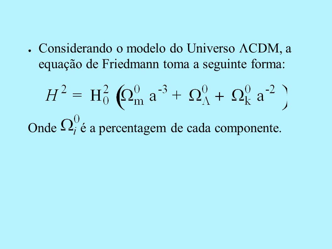 Considerando o modelo do Universo CDM, a equação de Friedmann toma a seguinte forma: