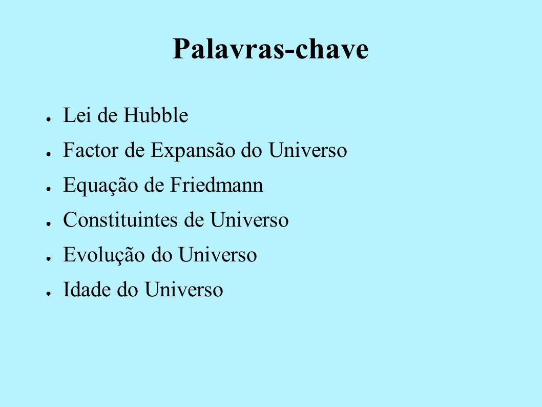Palavras-chave Lei de Hubble Factor de Expansão do Universo