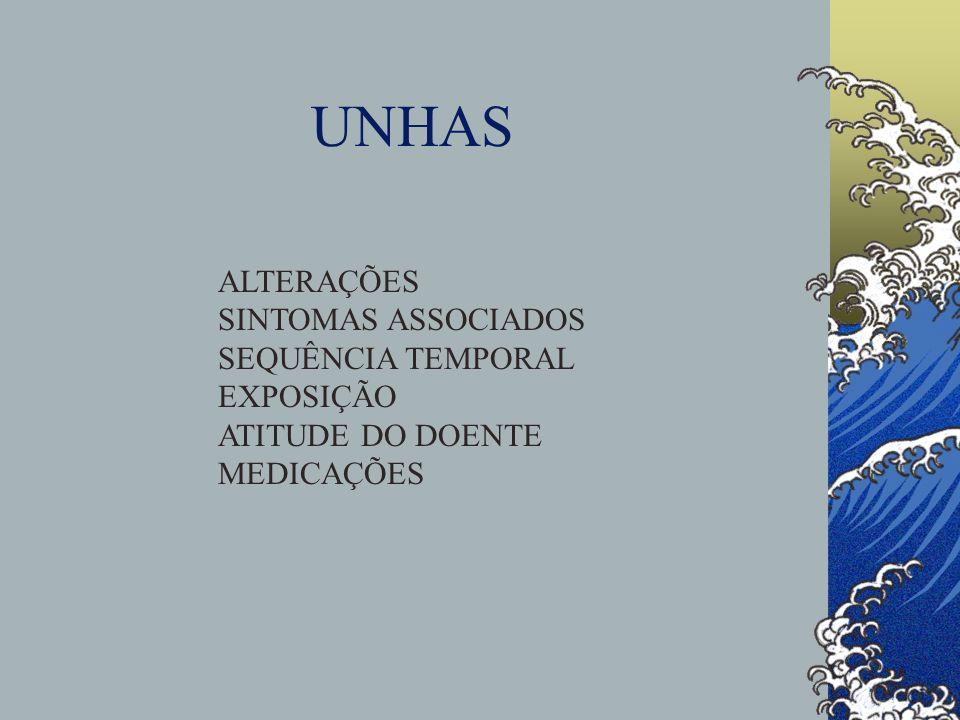 UNHAS ALTERAÇÕES SINTOMAS ASSOCIADOS SEQUÊNCIA TEMPORAL EXPOSIÇÃO
