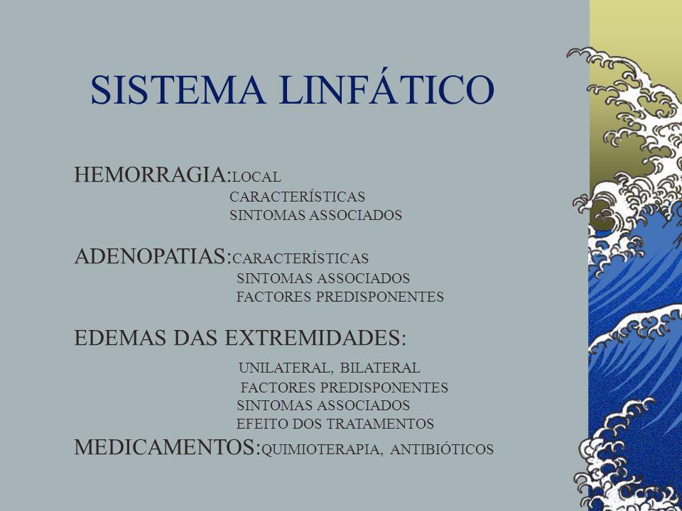 SISTEMA LINFÁTICO HEMORRAGIA:LOCAL ADENOPATIAS:CARACTERÍSTICAS