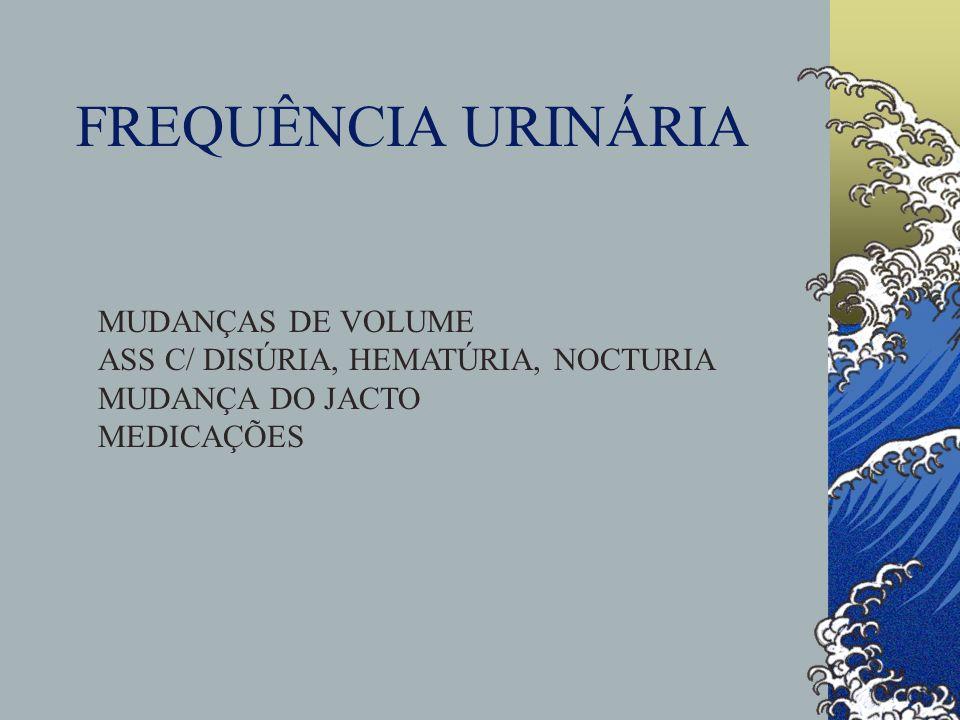 FREQUÊNCIA URINÁRIA MUDANÇAS DE VOLUME