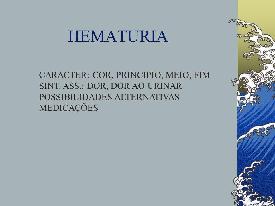 HEMATURIA CARACTER: COR, PRINCIPIO, MEIO, FIM