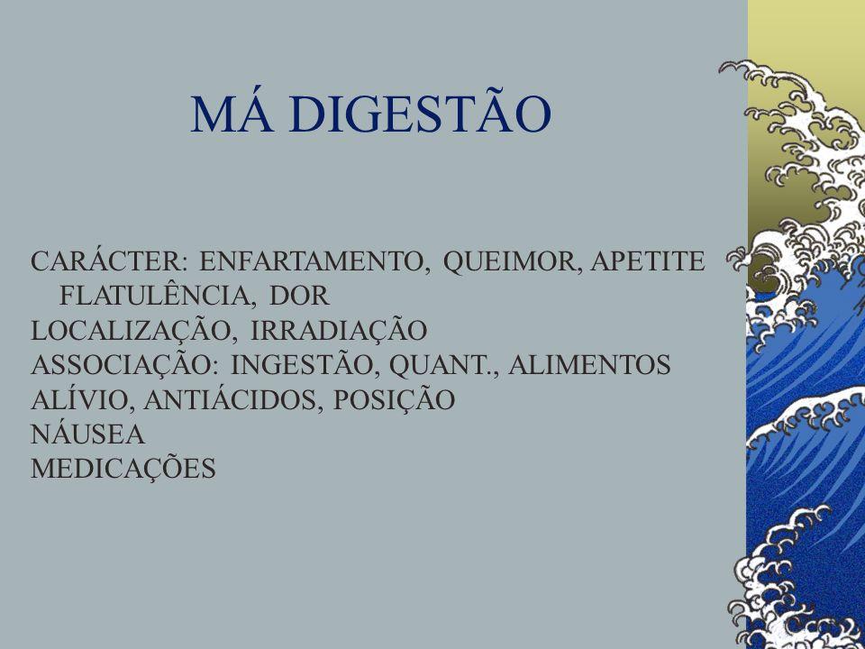 MÁ DIGESTÃO CARÁCTER: ENFARTAMENTO, QUEIMOR, APETITE FLATULÊNCIA, DOR