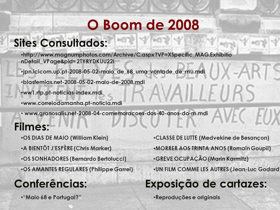 O Boom de 2008 Sites Consultados: Filmes: Conferências: