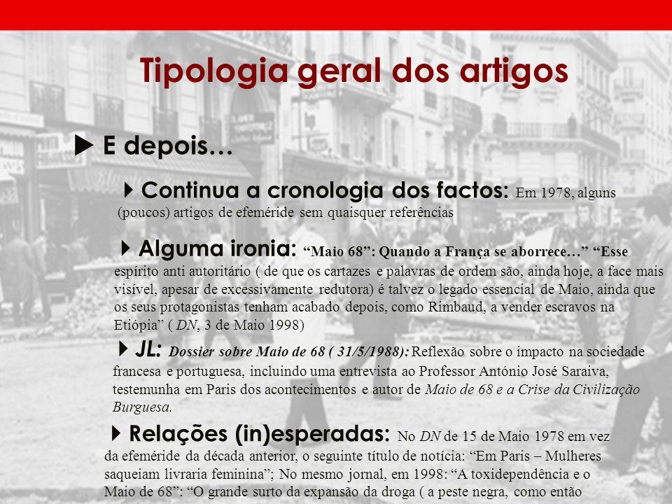 Tipologia geral dos artigos